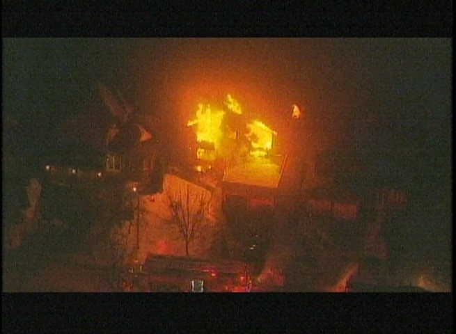This aerial photo shows a Markham home engulfed in flames on Thursday, February 21. Seven fire trucks have been called in to battle the blaze.