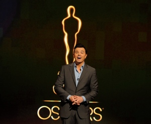 In this Jan. 13, 2013 file photo, Oscar host Seth MacFarlane presents the nominations for the 85th Academy Awards in Beverly Hills, Calif. (Photo by Chris Pizzello/Invision/AP Photo, File)