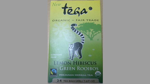 The Canadian Food Inspection Agency has issued a warning about Tega brand Organic Lemon Hibiscus Green Rooibos Herbal Tea, pictured. (Handout photo)