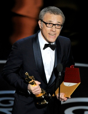"Actor Christoph Waltz accepts the award for best actor in a supporting role for ""Django Unchained"" during the Oscars at the Dolby Theatre on Sunday Feb. 24, 2013, in Los Angeles. (AP/ Chris Pizzello)"