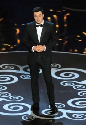 Host Seth MacFarlane speaks onstage during the Oscars at the Dolby Theatre on Sunday Feb. 24, 2013, in Los Angeles. (AP/ Invision/ Chris Pizzello)