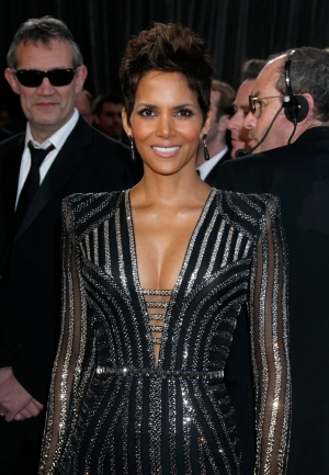 Actress Halle Berry arrives at the Oscars at the Dolby Theatre on Sunday Feb. 24, 2013, in Los Angeles. (AP/ Invision/ Todd Williamson)