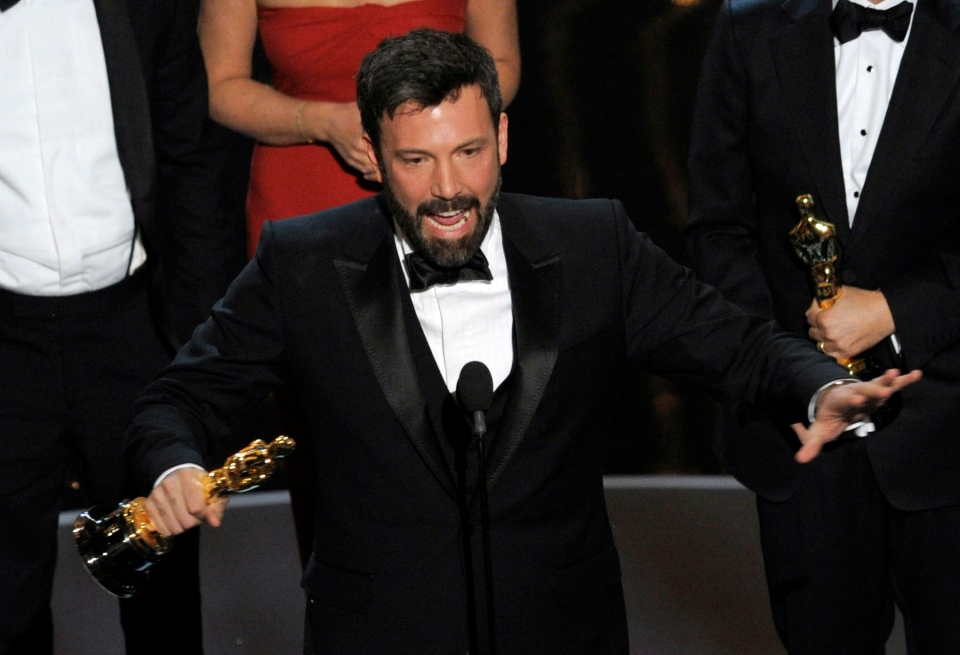 "Director-producer Ben Affleck accepts the award for best picture for ""Argo"" during the Oscars at the Dolby Theatre in Los Angeles on Sunday, Feb. 24, 2013. (AP/ Invision/ Chris Pizzello)"