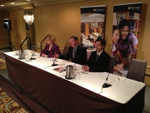 Ontario Secondary School Teachers' Federation officials speak to reporters at a news conference in Toronto on Monday, Feb. 25, 2013. (Mathew Reid/CP24)