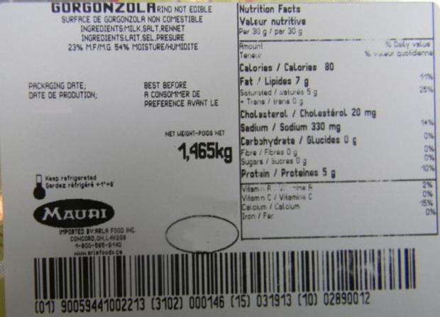 Mauri Gorgonzola cheese recall CFIA