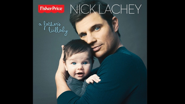 "This publicity photo provided by Fisher-Price shows multi-platinum recording artist and new father, Nick Lachey's album cover for ""A Father's Lullaby."" (AP /Fisher-Price, Austin Hargrave)"