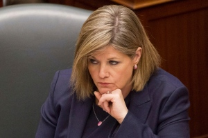 Provincial NDP leader Andrea Horwath looks on as Lt.-Gov. David Onley delivers the throne speech at the Ontario Legislature in Toronto on Tuesday, Feb. 19, 2013. (The Canadian Press/Chris Young)