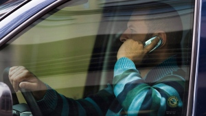Driver talks on cellphone while driving
