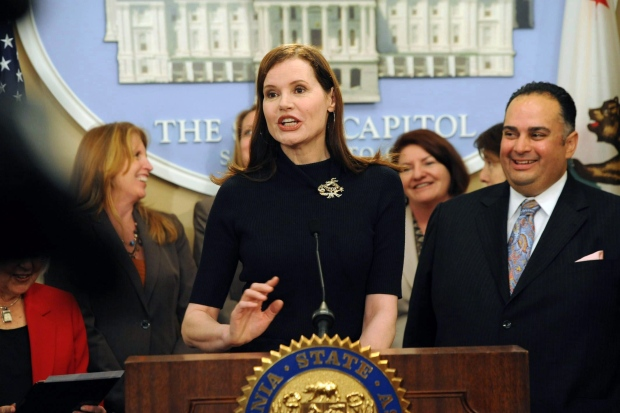 Academy Award-Winning Actress Geena Davis, talks about funding for the California Commission on the Status of Women with Assembly Speaker John A. Perez, D-Los Angeles, at the Capitol in Sacramento, Calif., on Tuesday, April, 24, 2012.  (AP /The Sacramento Bee, Hector Amezcua)