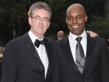 Toronto International Film Festival co-director Cameron Bailey, right, appears in this Thursday, Sept. 4, 2008, file photo alongside TIFF CEO and director Piers Handling. (AP Photo/Evan Agostini)
