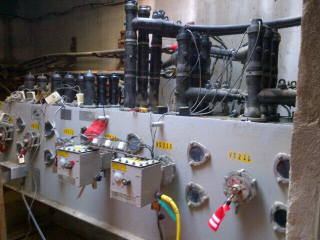 A piece of faulty switchgear equipment is pictured in an underground hydro vault on Thorncliffe Park Drive in this photo provided by Toronto Hydro on Saturday, March 9, 2013. (@TorontoHydro/Twitter)