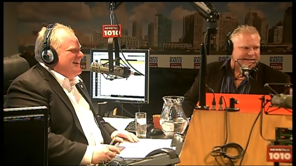 Toronto Mayor Rob Ford, left, and his brother, Coun. Doug Ford, host their weekly radio talk show Sunday, March 10, 2013.