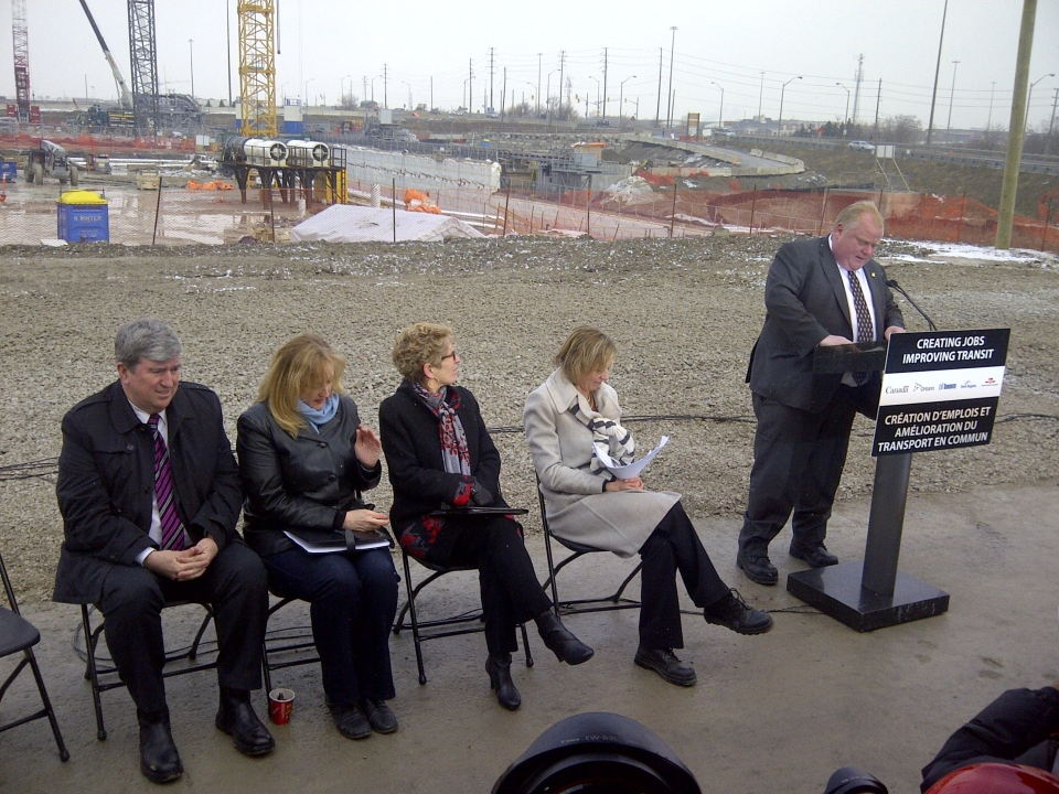 Mayor Rob Ford speaks during a news conference about the Toronto-York Spadina subway extension at the site of the future Highway 407 Station on Wednesday, March 13, 2013. Seated from left to right are Ontario Transportation Minister Glen Murray, federal Labour Minister Lisa Raitt, Ontario Premier Kathleen Wynne, and TTC chair Karen Stintz. (George Lagogianes/CP24)