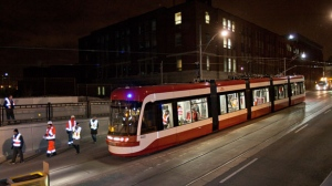 The TTC's newest streetcar is shown while on its maiden voyage early on March 14, 2013. (Brad Ross/Twitter.com)