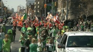 People participate in Toronto's annual St. Patrick's Day Parade in this file photo.