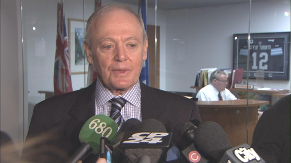 Deputy mayor Doug Holyday speaks to reporters at city hall on Tuesday, March 26, 2013.