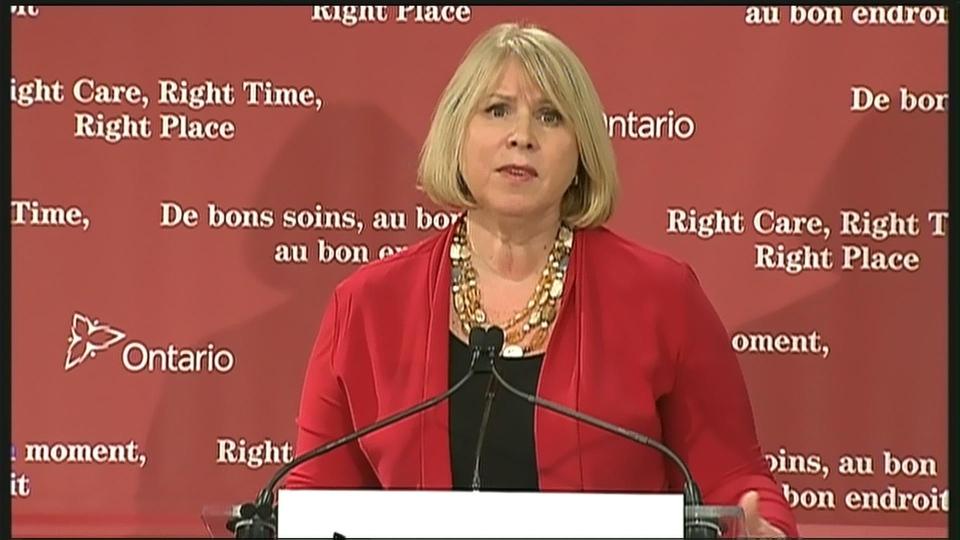 Ontario Health Minister Deb Matthews speaks to reporters Wednesday, April 3, 2013.
