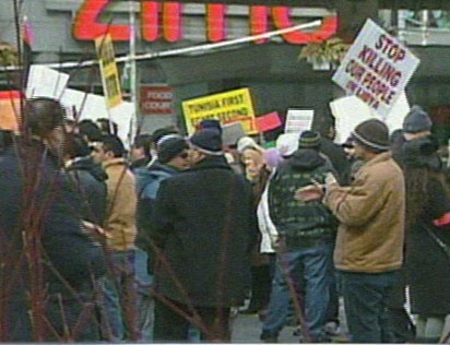 More than 100 people showed up at a pro-democracy rally in Toronto on Sunday, Feb. 20, 2011 in support of protests in Libya.