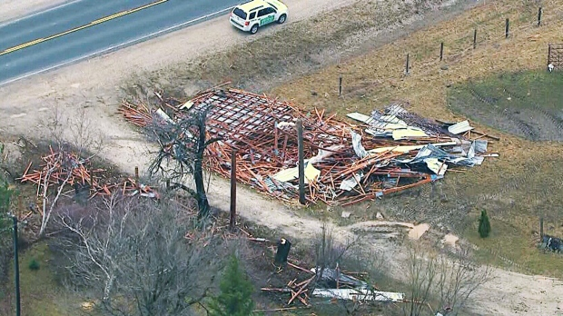 Possible tornado damage in Shelburne