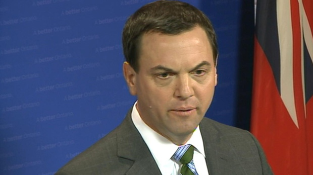 Progressive Conservative leader Tim Hudak is shown speaking to reporters on Monday, April 29, 2013.