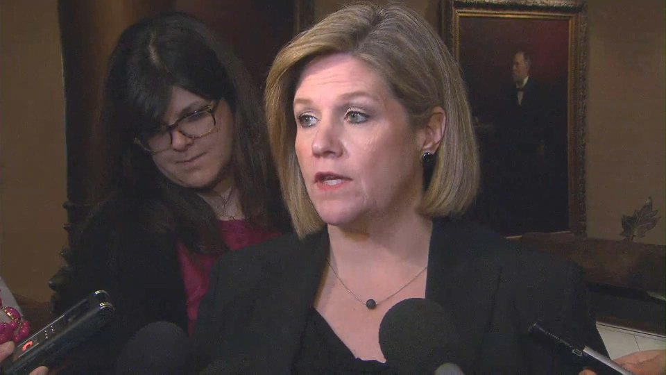 NDP leader Andrea Horwath speaks to reporters at Queen's Park on Monday, April 29, 2013.