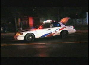 This screen grab shows a Toronto police cruiser after it was struck by a car early Sunday, May 12, 2013.