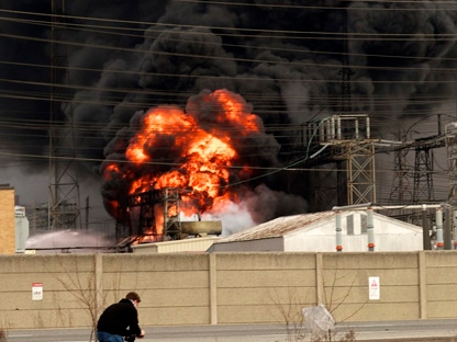 Flames and smoke are seen at the scene of a fire at a Hydro One transformer station Friday, March 18, 2011. (Photo courtesy of Don Cahigas)
