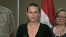 Sharlene Bosma addresses reporters