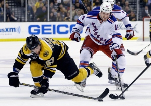 Boston Bruins left wing Brad Marchand (63) gets to the puck ahead of New York Rangers right wing Derek Dorsett (15) during the second period in Game 2 of the NHL Eastern Conference semifinal hockey playoff series in Boston on Sunday, May 19, 2013. (AP /Elise Amendola)