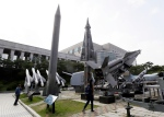 Missiles are displayed at the Korea War Memorial Museum in Seoul, South Korea on Monday, May 20, 2013. (AP Photo/Lee Jin-man)