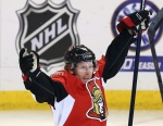Ottawa Senators captain Daniel Alfredsson celebrates an overtime win against the Montreal Canadiens in the NHL playoffs Tuesday, May 7, 2013 in Ottawa. (The Canadian Press/Fred Chartrand)