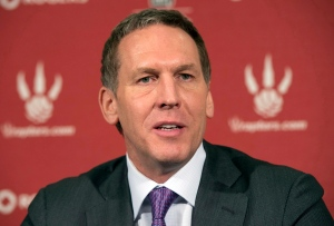 Toronto Raptors president and general manager Bryan Colangelo speaks at a news conference in Toronto on Monday, April 22, 2013. (The Canadian Press/Frank Gunn)