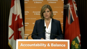 In this screen grab, NDP Leader Andrea Horwath speaks to reporters in Toronto on Tuesday, May 21, 2013.