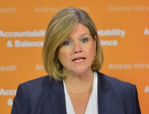 Ontario NDP Leader Andrea Horwath holds a news conference in Toronto, Tuesday, May 21. 2013. (The Canadian Press/Nathan Denette)