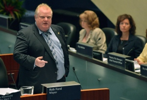 Toronto Mayor Rob Ford speaks on a casino proposal during a city council meeting at City Hall on Tuesday, May 21, 2013. (The Canadian Press/Nathan Denette)