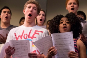 "Members of the Cawthra Park Secondary School choir rehearse the choral part of the Rolling Stones song '""You Can't Always Get What You Want"" in Mississauga on Wednesday, May 8, 2013, as they prepare to appear with the band in Toronto. (The Canadian Press/Chris Young)"