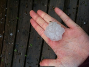 Hail fell during a severe thunderstorm that passed through southern Ontario on Tuesday, May 21, 2013. (@megannashh/Twitter)
