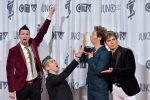 Marianas Trench pose with their Juno after winning group of the year at the 2013 Juno Awards in Regina on Sunday, April 21, 2013. (The Canadian Press/Liam Richards)