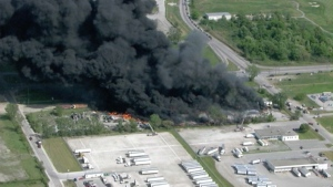 A massive fire at a plastics plant in Windsor, Ont., is seen in this photograph on Tuesday, May 21, 2013.