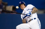 Toronto Blue Jays Brett Lawrie gets out of the way of an inside pitch during ninth inning AL action against the Tampa Bay Rays in Toronto on Tuesday, May 21, 2013. (The Canadian Press/Frank Gunn)