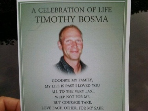 A program for the public memorial being held for Ancaster man Tim Bosma on May 22 is shown. (Sue Sgambati/CP24.com)