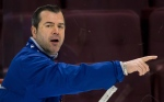 Vancouver Canucks head coach Alain Vigneault directs the team during practice in Vancouver on Tuesday, April 30, 2013. (The Canadian Press/Darryl Dyck)