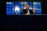Vancouver Canucks president and GM Mike Gillis addresses the media in Vancouver Wednesday, May 22, 2013, after the team fired head coach Alain Vigneault. (The Canadian Press/Darryl Dyck)