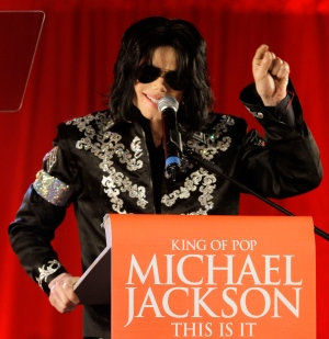 In this March 5, 2009 file photo, Michael Jackson announces several concerts during a press conference at the London O2 Arena. (AP Photo/Joel Ryan, file)