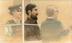 Raed Jaser appears in court in Toronto on Tuesday, April 23, 2013 in this artist's sketch. Jaser and Chehib Esseghaier were arrested and charged last month in what the RCMP said was the first known al-Qaida terror plot in Canada.THE CANADIAN PRESS/John Mantha