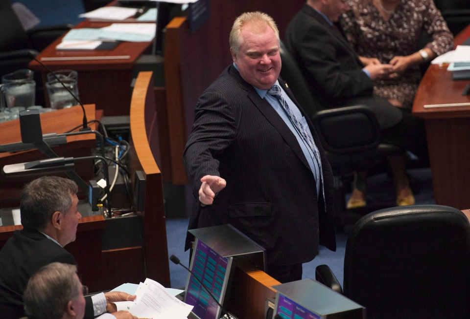 Toronto Mayor Rob Ford walks the floor during a council meeting at Toronto City Hall on Tuesday May 21, 2013. THE CANADIAN PRESS/Nathan Denette