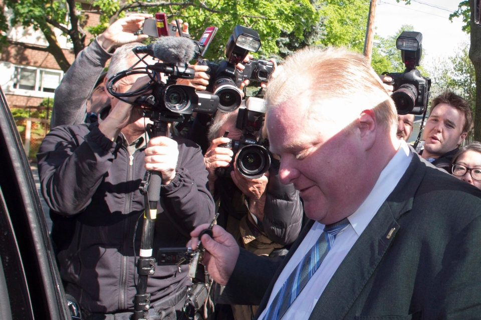 Mayor Rob Ford leaves his home on Friday, May 17, 2013, after published reports of alleged drug use. (The Canadian Press/Chris Young)
