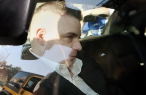 Michael Rafferty is transported from the courthouse in the back of police cruiser in London, Ont., Wednesday, March, 14, 2012. (The Canadian Press/Dave Chidley)