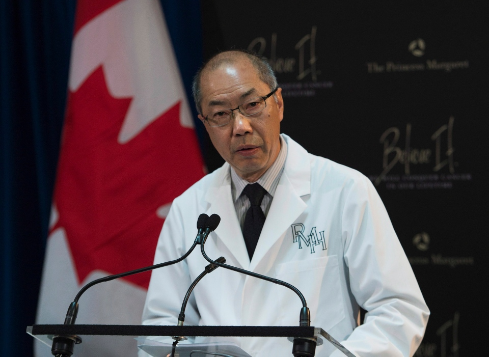 Dr. Tak Mak, director of the Campbell Family Institute for Breast Cancer Research, speaks during a press conference about the new breakthrough CFI-400945 cancer drug in Toronto on Tuesday, June 18, 2013. (The Canadian Press/Nathan Denette)