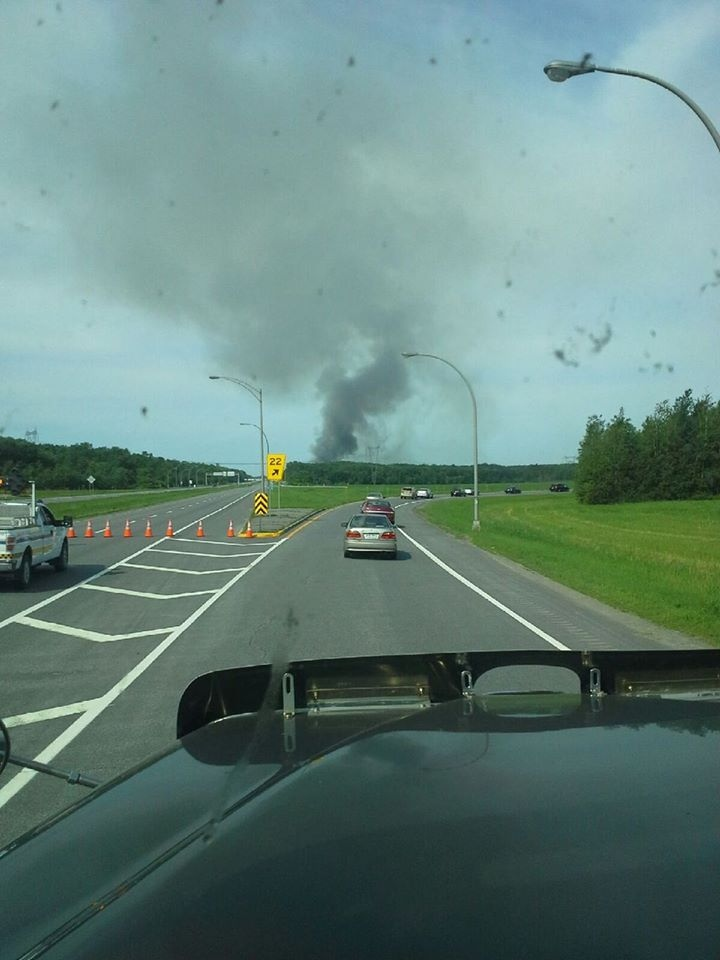 Smoke can be seen from a distance after there was an explosion at a fireworks factory in Quebec on Thursday, June 20, 2013. (Photo courtesy Joan Buck)